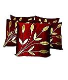 #10: FabLooms Maroon N Golden Leaf Design Cushion Covers - Set of 5 (40.64 x 40.64 CM)