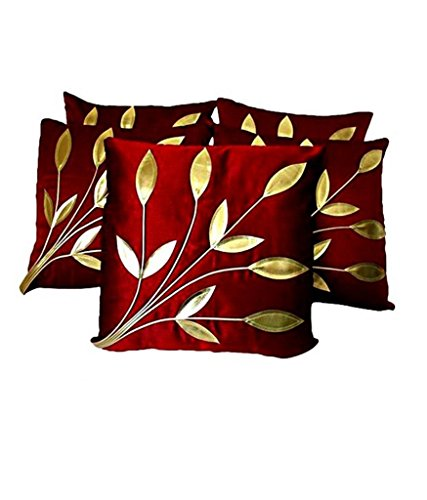 FabLooms Maroon N Golden Leaf Design Cushion Covers - Set of 5 (40.64 x 40.64 CM)