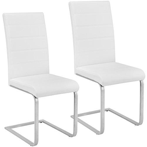 TecTake Lot de 2 Chaise de Salle à Manger Chaise Cantilever | diverses Couleurs et modèles au Choix - (2X Blanc | No. 402550)