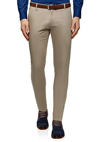 oodji Ultra Hombre Pantalones de Algodón con Decoración Pequeña de Jacquard, Beige, ES 40 (M)