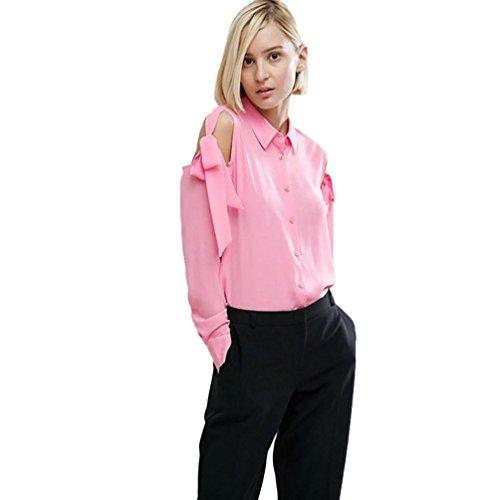Internet Damen Neue feste Chiffon trägerlosen langen Ärmel Verband Bogen Tops Bluse T-Shirt (rosa, XXL) (Bogen Blazer)