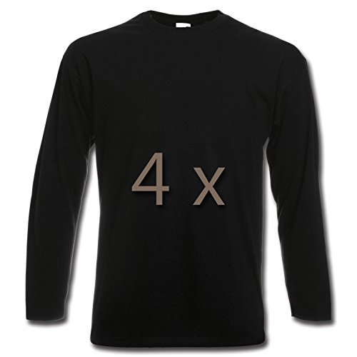 4 Fruit of the Loom T Shirt Longsleeve M L XL XXL Langarm verschiedene Farbsets auswählbar (XL, Schwarz)