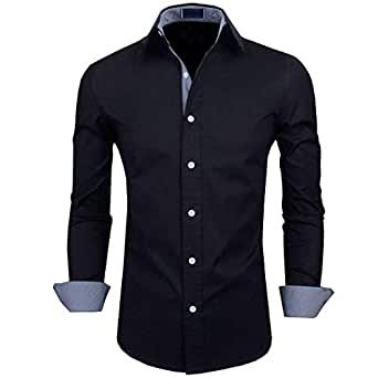 IndoPrimo Men's Cotton Casual Shirt for Men Full Sleeves (Black, Small - 38)