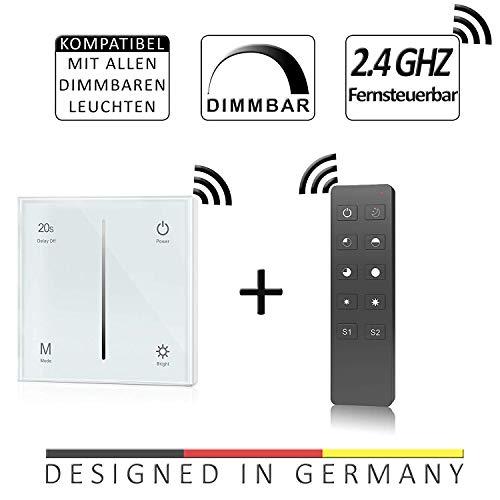 Dimmer-Panel mit Funk für LED bis 240W, Touch-Schalter 230V universal für Phasenabschnitt & -anschnitt, Wandschalter-Controller (Touch-Dimmer + Fernbedienung) -