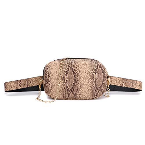 TTLOVE Brusttasche Sling Rucksack Schultertasche, Schlange Leather Crossbody Umhängetasche Sporttasche Kompatibel Damen Mädchen Reise Daypack(Khaki) -