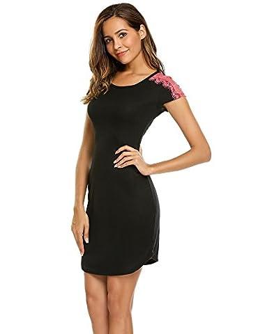 Nachtkleid damen baumwolle sexy schwarz lang