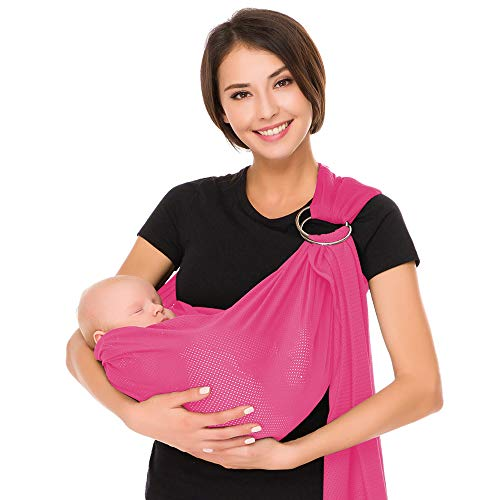 Écharpe de portage avec anneau d'ajustement - Porte-bébé ventral ou dorsal de marque CUBY - Réglable - Matériau respirant (Rose)