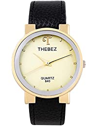 Thebez® Branded Japan Movement Water Resistant Analogue Yellow Dial Black Leather Belt Watches For Men & Women - W1011BYXZXZ