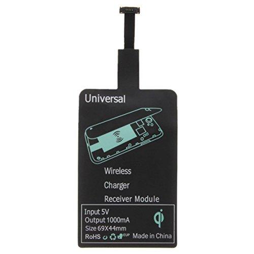 r - TOOGOO(R)Micro USB Qi Wireless Ladegeraet Lade Empfaenger Chip Android Handy Schwarz, Schmalseite nach oben ()