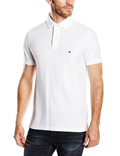 Tommy Hilfiger Herren Poloshirt 50/2 Performance Polo S/S SF, Gr. Medium, Weiß (Classic White 100) (Pique Golf Herren Polo)