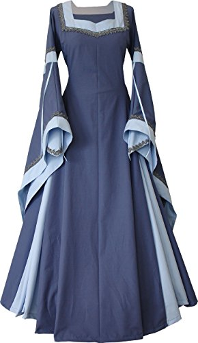 Dornbluth Damen Mittelalterkleid Guinevere Made in Germany (Indigo-Hellblau, ()