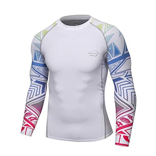 DNOQN Langarm Polo Herren Stylische T Shirts Mode für Männer Langarm Yoga Fitness Drucken Weich T-Shirt Top Bluse XXL