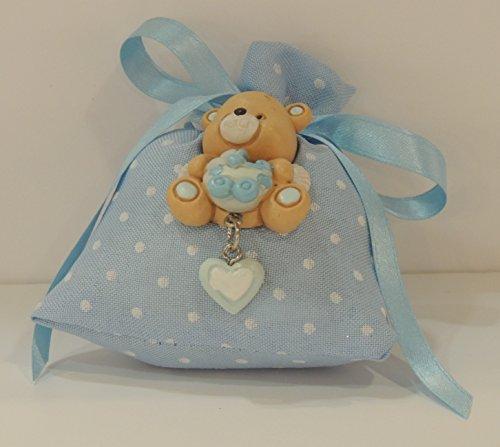 Bomboniera nascita , battesimo bimbo, sacchetto pois con fiocco celeste con orsetto calamita ( per urgenze contattare il venditore )