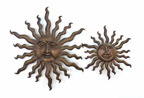 Wand Deko Relief Sonne *Lara* Metall Gold Antik - 40cm