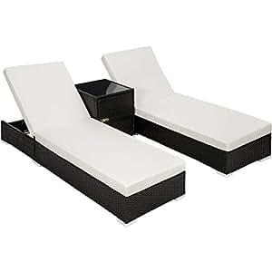 TecTake 2x Chaise longue bain de soleil + Table en Aluminium et Résine Tressée + Deux set de housses + Housse de protection - diverses couleurs au choix - (Noir   no. 401500)