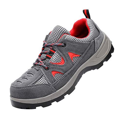 Yying Chaussures de sécurité Femmes Hommes Chaussures de Travail Bout en Acier Anti-dérapant Respirant Chaussures de Protection Chaussures de randonnée Chaussures décontractées Unisexe