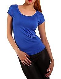 Young Fashion Strech Basic T-Shirt Rundhals-Ausschnitt Shirt Damen Uni 34-40
