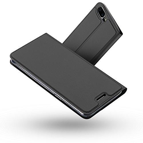 Radoo Funda OnePlus 5, Slim Case de Estilo Billetera Carcasa Libro de Cuero,PU Leather con TPU Silicona Case Interna Suave [Función Soporte][Cierre Magnético] para OnePlus 5 (Gris Oscuro)