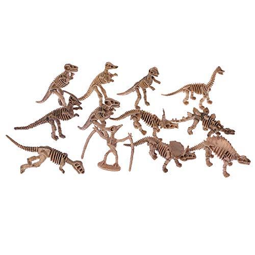 JERKKY 12 Stück Dinosaurier Skeleton Fossilien Verschiedene Knochen Figuren Spielzeug Kinder (12 Knochen)