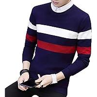 Byqny Hombre Suéter de Punto Cuello Redondo Elegante Sweater Manga Larga Camisa Inferior
