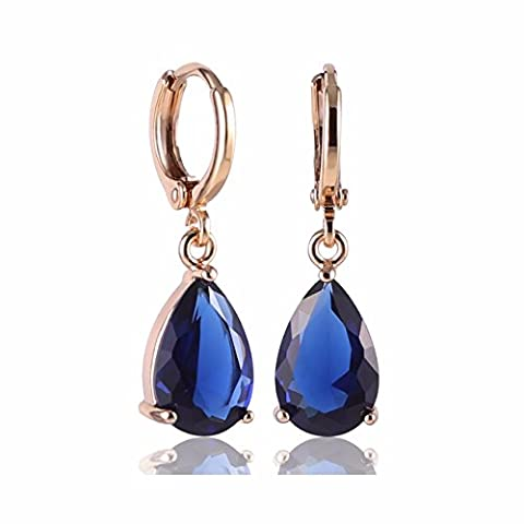 GULICX Gold Electroplated Blue Teardrop Crystal Cubic Zirconia Leverback Pierced