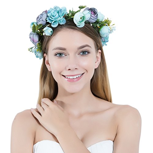 Flower Crown Headband Garland Bohemian Bridal Flower Wreath Wedding Headpiece for Women Girls Hair Accessories Festival Wedding Party