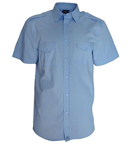 Rock-it camicia da uomo con manica corta, camicia in stile militare americano camicia in stile lavoratore camicia per il tempo libero. fabbricata in europa s-5xl azzuro xx-large