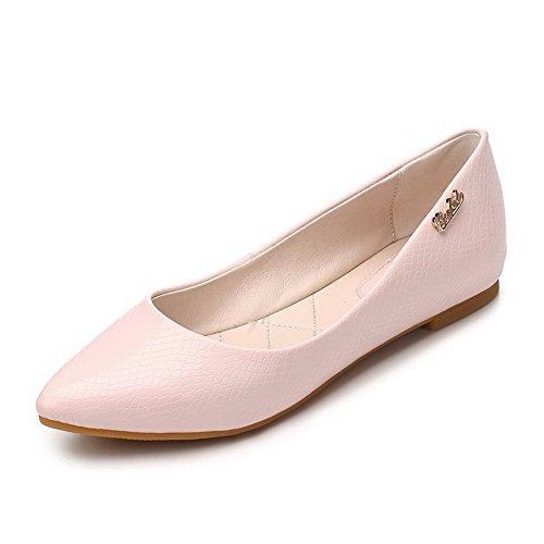 AllhqFashion Damen Spitz Zehe Weiches Material Eingelegt Ziehen Auf Flache Schuhe Pink
