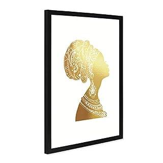 PHOTOLINI Design-Poster mit Bilderrahmen Schwarz 'Woman Gold' 30x40 cm Goldaufdruck Motiv Frau Afrika Dekoration