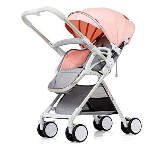 Leichter Kinderwagen kann sitzen stützende Kinderwagen Buggies Stoßdämpfer Kinderwagen Kinderwagen hohe Landschaft faltende Kinderwagen (Color : Pink, Größe : 33.46 * 22.83 * 39.76inchs)