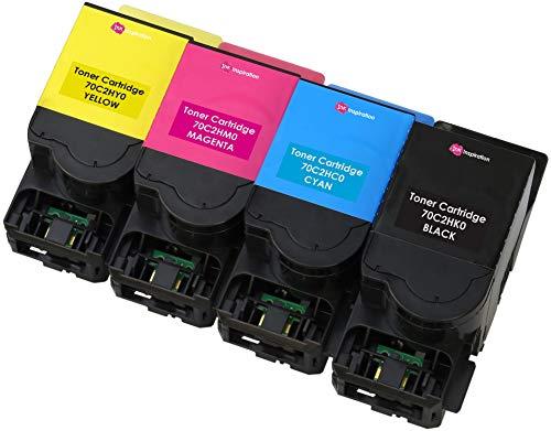 4er Set Premium Toner kompatibel für Lexmark 702H CS310dn CS310n CS410dn CS410dtn CS410n CS510de CS510dte   Schwarz 4.000 Seiten & Color je 3.000 Seiten -