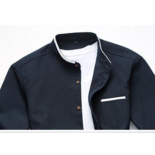 Honghu Herren Casual Business Slim Fit Langarm Stehkragen Freizeithemd Marineblau