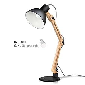 Tomons lampada da lettura design legno classico, lampada da tavolo, lampada regolabile scrivania, con braccio snodato, eye-friendly, la lampada da lavoro, lampada da ufficio, lampada da comodino Nero