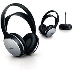 Philips - SHC5112 - Duo Casques TV Hifi Sans fil, Rechargeables, Légers, Design, Confortables, Compatibles Toutes TV