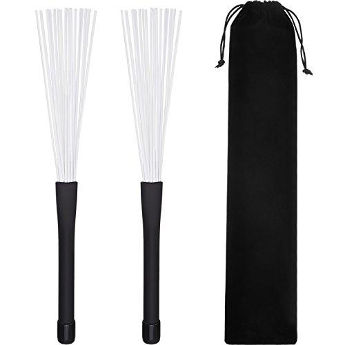 1 Paar Drum Brushes Drumstick Besen Einziehbar Nylon Drum Bürsten Cajon Brush Schlagzeug Drumbrushes Sticks (Weiß)