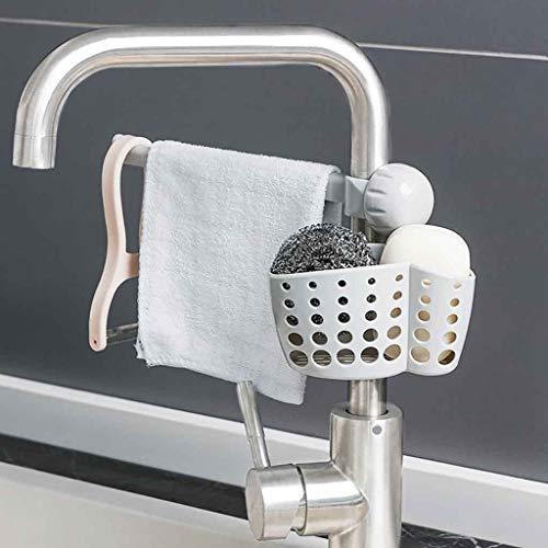 bloatboy Spüle Wasserhahn Abtropfgestell, Schwamm Seife Tuch Lagerregal, küche Wäscheständer Speicherorganisation Regal, Kunststoff Lagerregal (Grau)