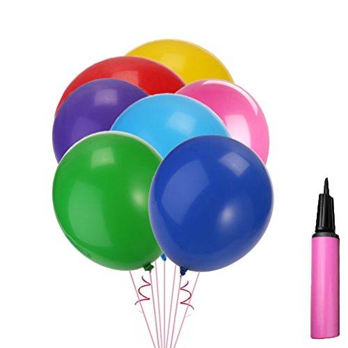 Toyvian 90cm Große Latex Luftballons mit Inflator, Verschiedene Farben, Packung mit 12 Stück