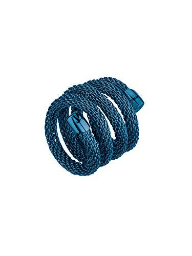 Breil - anello donna collezione new snake - gioiello modellabile in maglia mesh metallica di acciaio lucido - lunghezza 20 cm - blu - tj2787