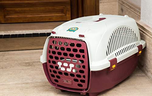 Cuccia Trasportino Da Viaggio per Cani e Gatti Taglia Piccola Media in Plastica 52x34x33 Cm (Rosso)