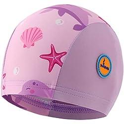 Swimbubs Gorro de baño para bebé Sombrero de Sol para niñas Traje de baño UV para niños Niños Calentador de Cabeza (0-18 Meses, Pink Dolphin)