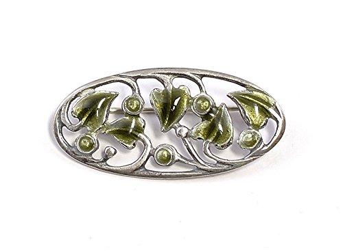925er Silber emaillierte Jugendstil-Brosche Efeu grün
