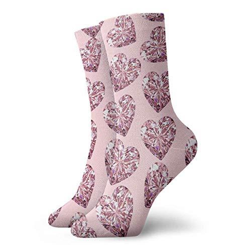 Nifdhkw Casual Crew Socks Bling Pink Heart Ankle Socks Short Dress Compression Socks For Women Men Pink Hearts Bling
