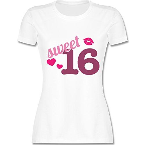 Geburtstag - Sweet 16 - S - Weiß - L191 - Damen Tshirt und Frauen T-Shirt