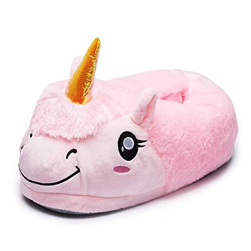 Lath.pin pantofole peluche ciabatte unicorni animali kigurumi unisex adulto scarpe adorabili cosplay halloween costume attrezzatura unicorno numero universale (pantofole rosa)