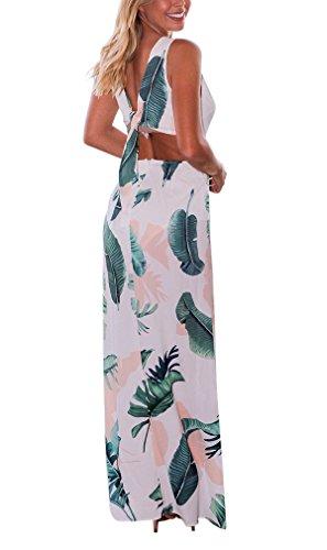 Sommer reizvolles Maxikleid mit Blumenmuster hoher Schlitz tiefer V-Ausschnitt Rückenfrei Plunge Strandkleider Abend Party Abschlussball langes Kleid Weiß