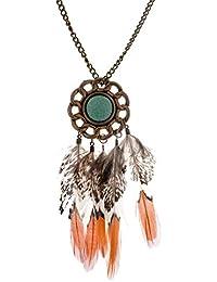 Lureme® estilo bohemio contra latón redondo de metal con piedra verde y collar de cadena larga plumas colgantes de colores para las mujeres y las niñas (01003240)