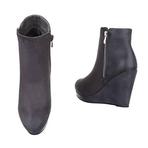 Keilstiefeletten Damen Schuhe Plateau Keilabsatz/ Wedge Leicht Gefütterte Reißverschluss Ital-Design Stiefeletten Grau