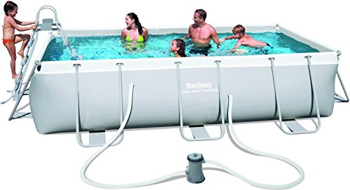Bestway Power Steel 56441 - Piscina (Azul, Gris, Montura, Rectangular, PVC, Acero, 220 - 240)