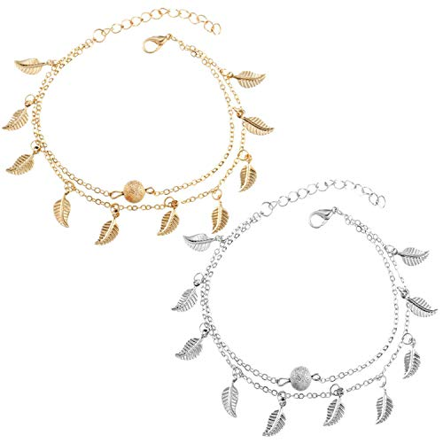 Gkmamrg Damen Fußkettchen Silber Gold 2pcs, Edelstahl Fußkette mit Infinity Unendlichkeit Symbol Perlen Sommer Strand Fußschmuck für Frauen Mädchen (Blätter Set)