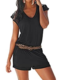 SUNNOW® Elegant Damen Jumpsuit Playsuit V-Ausschnitt elastisch Hohe Taillen Casual Ärmellos Overall Strand Hose Sommer